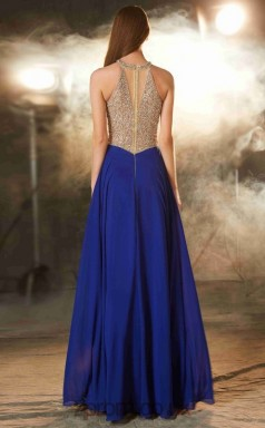 A-line Chiffon Royal Blue Halter Floor-length Evening Dress(JT2617)