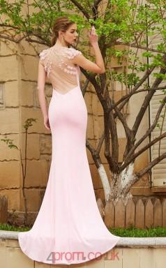 Trumpet/Mermaid Spandex Blushing Pink Illusion Short Sleeve Floor-length Evening Dress(JT2619)