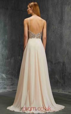 A-line Chiffon Champagne Halter Floor-length Evening Dress(JT2625)