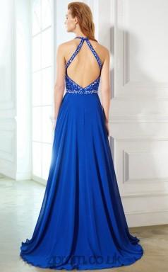A-line Chiffon Light Royal Blue Halter Floor-length Evening Dress(JT2627)