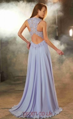 A-line Chiffon Lavender Jewel Floor-length Evening Dress(JT2629)