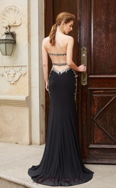 Trumpet/Mermaid Satin Chiffon Black Sweetheart Long Evening Dress(JT2634)