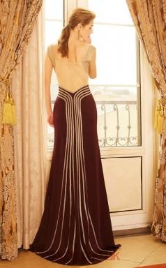 Trumpet/Mermaid Satin Light Brown V-neck Floor-length Evening Dress(JT2638)