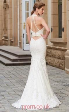 Trumpet/Mermaid Lace Ivory Halter Floor-length Bridesmaid Dress(JT2643)