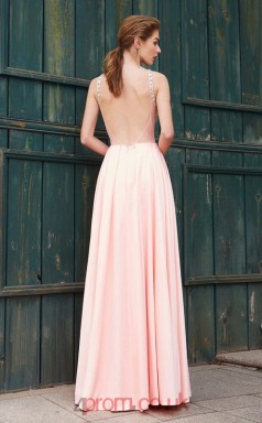 Sheath/Column Satin Chiffon Candy Pink Jewel Floor-length Evening Dress(JT2645)