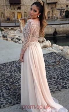 A-line Tulle Lace Gray Bateau Long Sleeve Floor-length Evening Dress(JT2651)