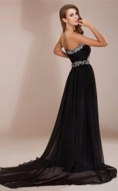 A-line Chiffon Black Sweetheart Floor-length Evening Dress(JT2653)