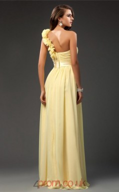A-line Chiffon Yellow One Shoulder Floor-length Formal Prom Dress(JT2654)