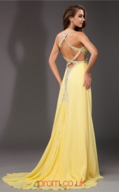A-line Chiffon Yellow Halter Long Formal Prom Dress(JT2657)