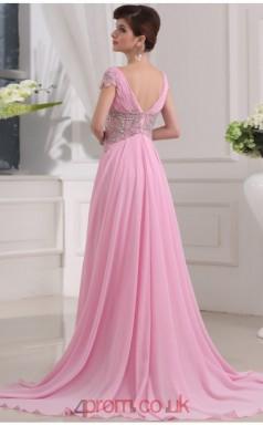 A-line Chiffon Candy Pink V-neck Short Sleeve Long Evening Dress with Split Side(JT2664)