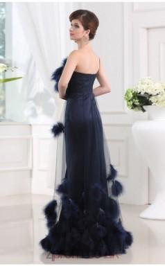 Trumpet/Mermaid Tulle Navy Blue One Shoulder Floor-length Evening Dress(JT2666)