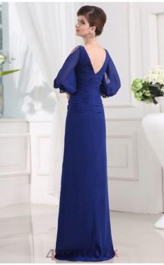 Sheath/Column Chiffon Blue V-neck 3/4 Length Sleeve Floor-length Evening Dress(JT2667)