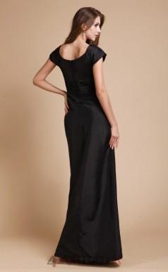 A-line Taffeta Black V-neck Short Sleeve Floor-length Formal Prom Dress(JT2679)