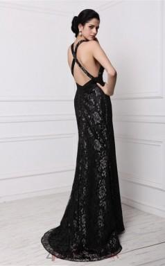 Trumpet/Mermaid Lace Black V-neck Floor-length Evening Dress(JT2681)