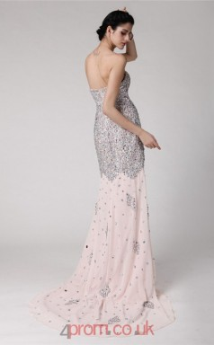 Trumpet/Mermaid Chiffon Blushing Pink Sweetheart Long Evening Dress with Split Front(JT2688)