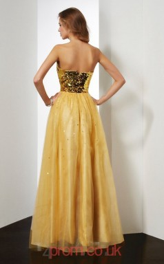 Gold Organza A-line Sweetheart Floor-length Prom Formal Dresses(JT2731)