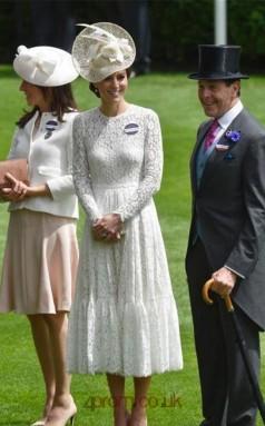 White Lace A-line Jewel Long Sleeve Tea-length Celebrity Dress(JT3541)
