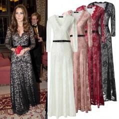 Black Lace A-line V-neck 3/4 Length Sleeve Long Celebrity Dress(JT3543)