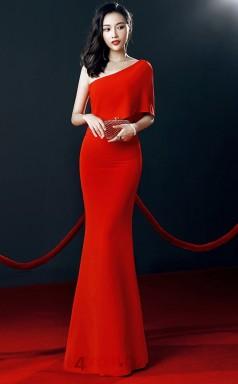Red Chiffon Mermaid One Shoulder Short Sleeve Long Celebrity Dress(JT3545)