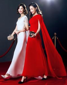 Red Chiffon Mermaid One Shoulder Short Sleeve Ankle-length Celebrity Dress(JT3546)