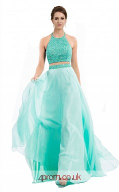 Jade Lace Chiffon A-line Halter Long Two Piece Prom Dress(JT3557)