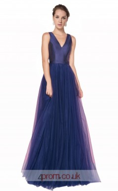 Mid Light Blue Tulle Satin A-line V-neck Long Prom Dress(JT3560)