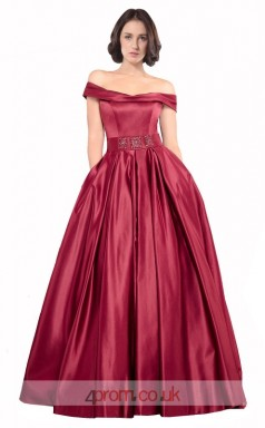 Dark Burgundy Stretch Satin A-line Off The Shoulder Short Sleeve Long Prom Dress(JT3562)