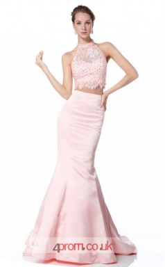 Blushing Pink Satin Chiffon Mermaid Halter Long Two Piece Prom Dress(JT3565)
