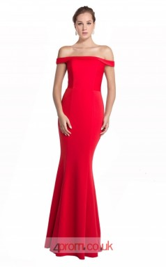 Red Stain Mermaid Off The Shoulder Short Sleeve Long Prom Dress(JT3576)