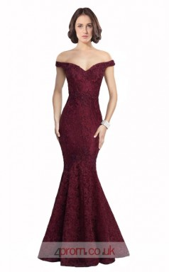 Dark Burgundy Lace Mermaid Off The Shoulder Short Sleeve Long Prom Dress(JT3578)