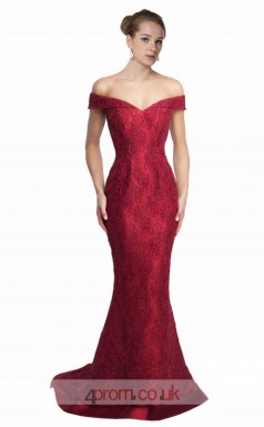 Dark Burgundy Lace Mermaid Off The Shoulder Short Sleeve Long Prom Dress(JT3579)