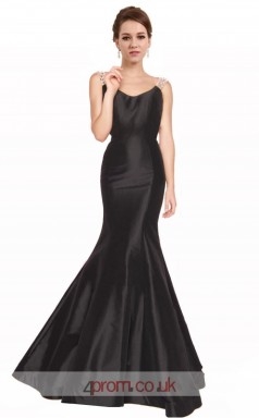 Black Taffeta Mermaid V-neck Long Prom Dress(JT3587)