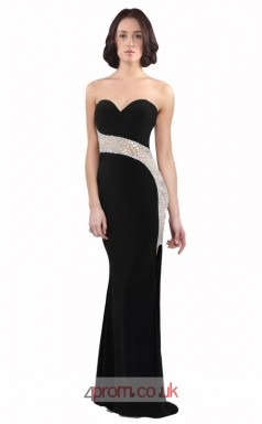 Black Satin Chiffon Mermaid Sweetheart Long Prom Dress(JT3590)