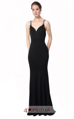 Black Satin Chiffon Mermaid V-neck Long Prom Dress(JT3597)