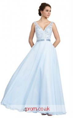 Sky Blue Lace Chiffon A-line V-neck Long Prom Dress(JT3604)