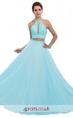 Light Blue Chiffon A-line Halter Long Two Piece Prom Dress(JT3612)
