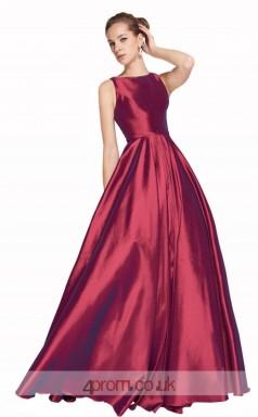 Dark Burgundy Taffeta A-line Bateau Long Prom Dress(JT3629)