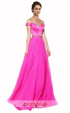 Hot Pink Lace Stretch Satin A-line Off The Shoulder Short Sleeve Long Prom Dress(JT3630)