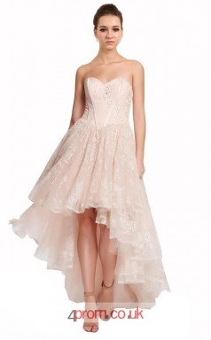 Pink Lace Princess Sweetheart Asymmetrical Prom Dress(JT3642)