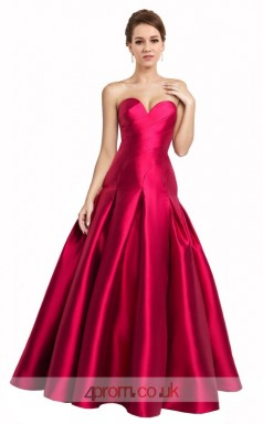 Violet Red Satin A-line Sweetheart Floor Length Prom Dress(JT3643)