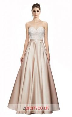 Champange Satin A-line Sweetheart Floor Length Prom Dress(JT3644)