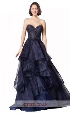 Dark Navy Organza Lace Princess Sweetheart Floor Length Prom Dress(JT3650)