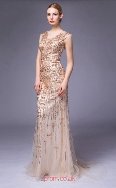 Champange Tulle Mermaid V-neck Floor Length Prom Dress(JT3670)