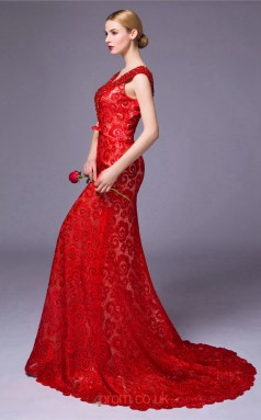 Red Lace Mermaid V-neck Short Sleeve Floor Length Prom Dress(JT3672)