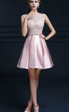 Blushing Pink Charmeuse Lace A-line Scalloped Short Sleeve Short/Mini Junior Prom Dress(JT3690)