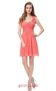 Watermelon Chiffon A-line Straps Short/Mini Junior Prom Dress(JT3694)