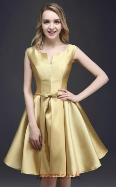 Gold Charmeuse A-line Scoop Short Sleeve Short/Mini Junior Prom Dress(JT3697)