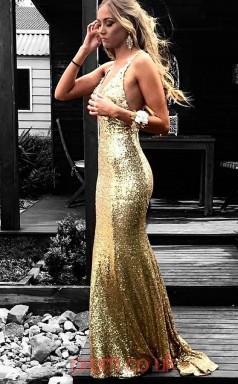 Gold Sequined Halter V-neck Trumpet/Mermaid Long Celebrity Dress(JT3728)