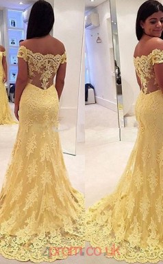 Yellow Lace Off The Shoulder Short Sleeve Trumpet/Mermaid Long Celebrity Dress(JT3739)