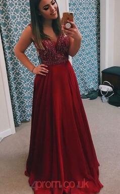 Burgundy Satin Chiffon V-neck A-line Long Celebrity Dress(JT3778)